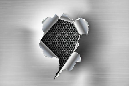 ragged Hole torn in ripped steel on metal background 版權商用圖片 - 90922733