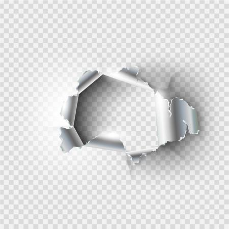 Gat gescheurd in gescheurd metaal op transparante achtergrond Stock Illustratie