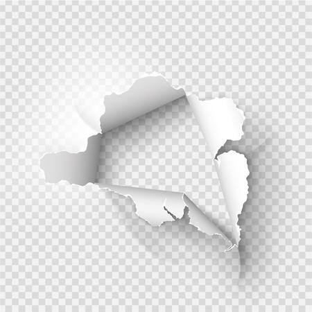Orificio desgarrado rasgado en papel rasgado sobre fondo transparente Ilustración de vector
