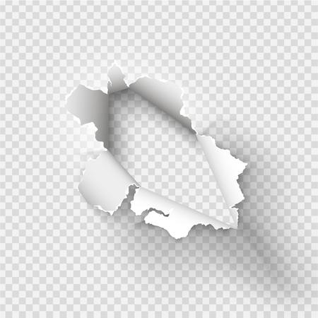 透明な背景に取り込んだ紙に引き裂かれた不規則な穴  イラスト・ベクター素材