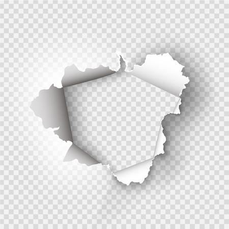 haveloze gat gescheurd in gescheurd papier op transparante achtergrond Vector Illustratie