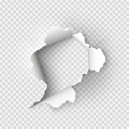 Orificio desgarrado rasgado en papel rasgado sobre fondo transparente