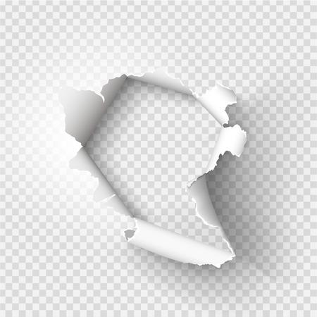 trou ragged déchiré dans du papier déchiré sur fond transparent