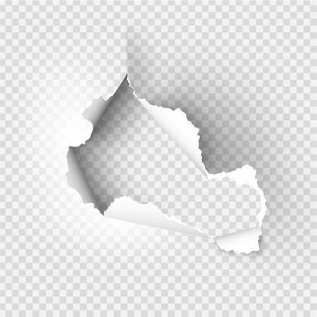 haveloze gat gescheurd in gescheurd papier op transparante achtergrond Stock Illustratie