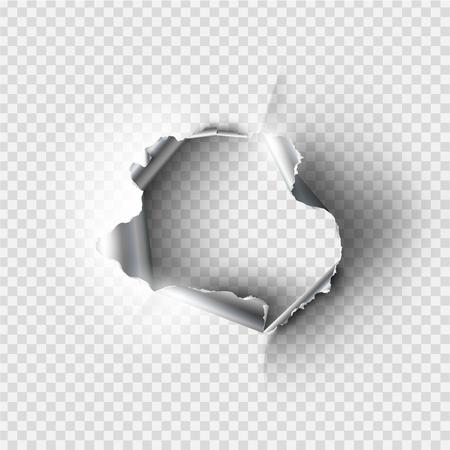 透明な背景に取り込んだ金属で引き裂かれた不規則な穴  イラスト・ベクター素材
