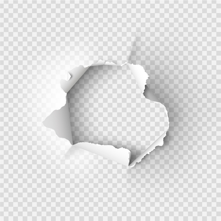 ragged Hole torn in ripped paper on transparent background Imagens - 91001624