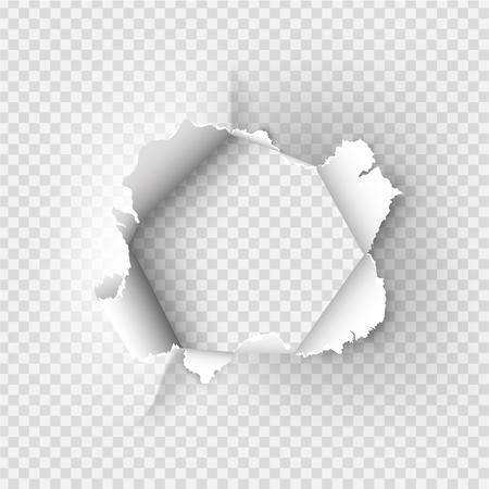obdarty Dziura rozdarta w zgrywanie papieru na przezroczystym tle Ilustracje wektorowe
