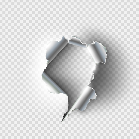 A ragged Hole torn in ripped metal on transparent background