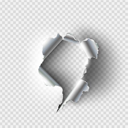 Un agujero irregular rasgado en metal rasgado sobre fondo transparente