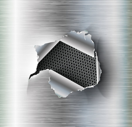 ragged Hole torn in ripped steel on metal background