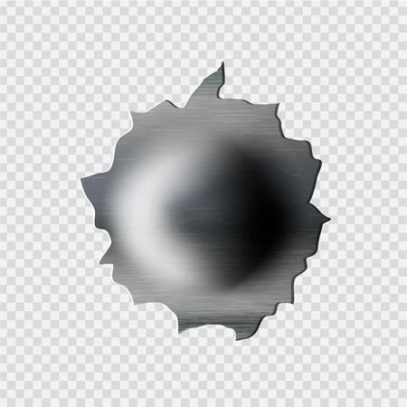 ragged bullet Hole torn in ripped metal on transparent background