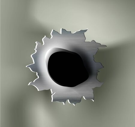 ragged bullet Hole torn in ripped metal on khaki background Vetores