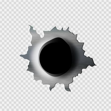 Haveloze kogel Gat gescheurd in gescheurd metaal op transparante achtergrond