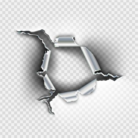 Ragged bullet Hole torn in ripped metal on transparent background Illustration