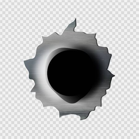 ragged bullet Hole torn in ripped metal on transparent background Vetores