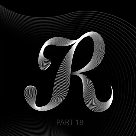 R letters of lines with shadows alphabet.