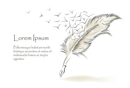 CRire vieux plume de peinture avec des oiseaux volants Banque d'images - 93451182