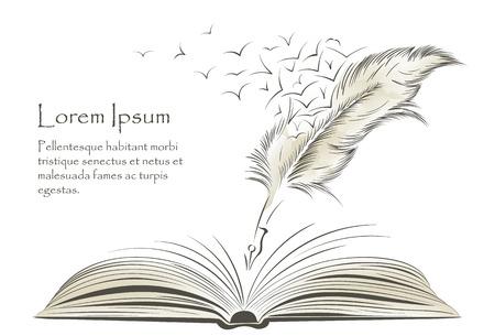 Pisanie starej farby piórkowej z latającymi ptakami i otwartą książką.