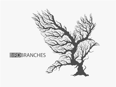 Silhouette of bird from branches of tree isolated vector illustration Illustration