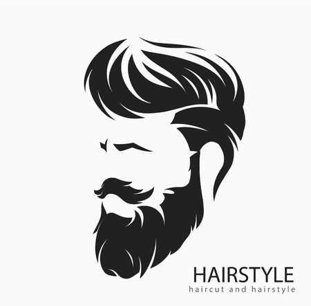 Men hairstyle and hair cut with beard mustache. 向量圖像