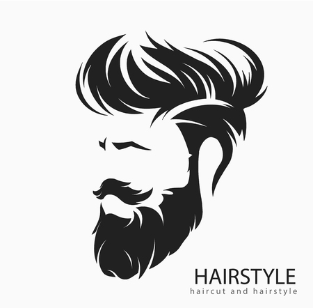 Men hairstyle and hair cut with beard mustache. 일러스트