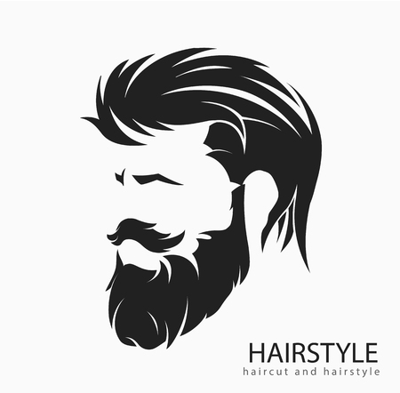 Men hairstyle and hair cut with beard mustache. Vettoriali