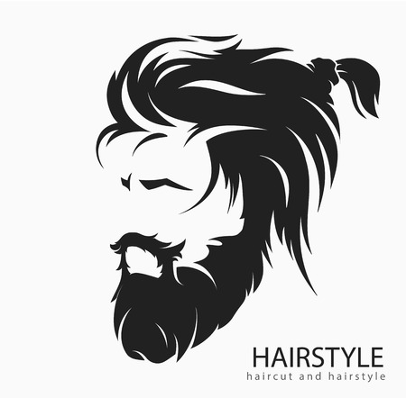 Men hairstyle and hair cut with beard mustache. Иллюстрация