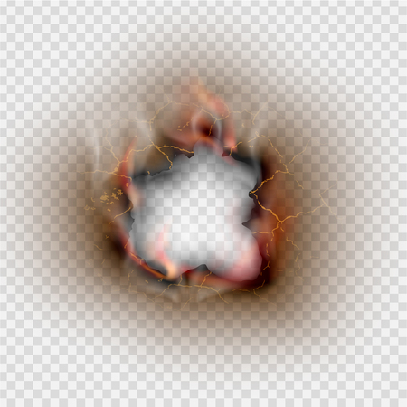 Hole torn in ripped paper with burnt and flame on transparent background.