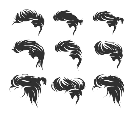set of men hairstyles and haircuts isolated