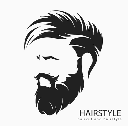 mens hairstyle and hirecut with beard mustache Ilustração Vetorial