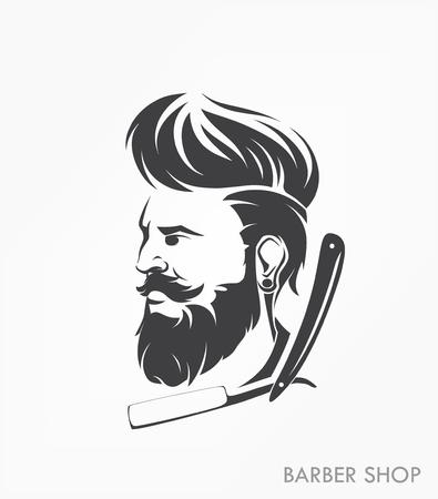 Vintage barber shop emblema etiqueta hombre insignia con barba Ilustración de vector