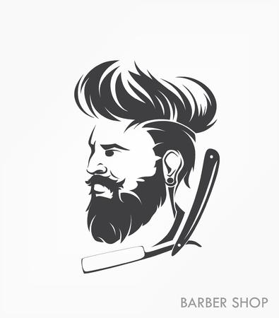 Vintage barber shop emblema etiqueta hombre insignia con barba