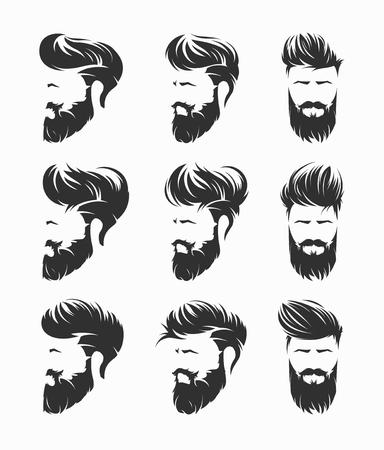 mens hairstyles vector set