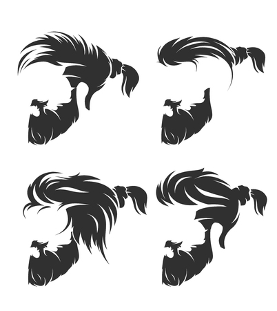 Mens hairstyles and haircut with beard mustache in face