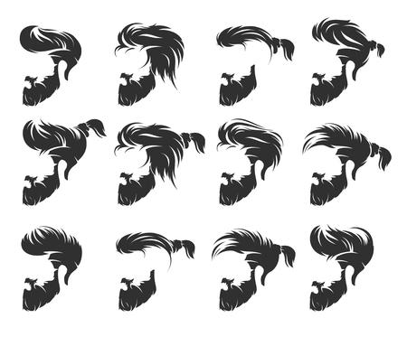 Peinados y cortes de cabello para hombres con bigote en la cara, cara completa y perfil. Ilustración de vector