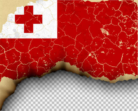 Element ripped Tonga flag country templates torn paper