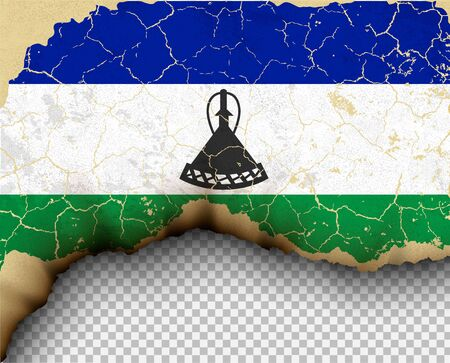 element ripped Lesotho flag country templates torn paper Illustration