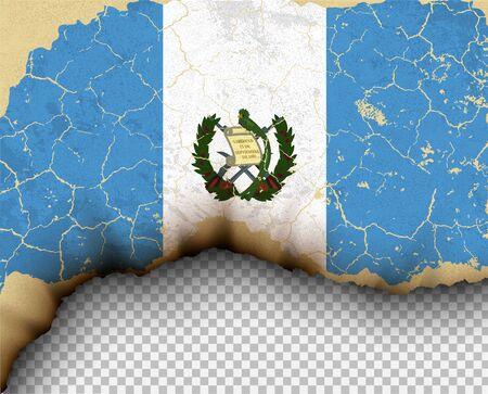 Element van gescheurde Guatamala vlag land sjablonen gescheurd papier branden.