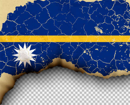 Element ripped Nauru flag country templates torn paper burning.