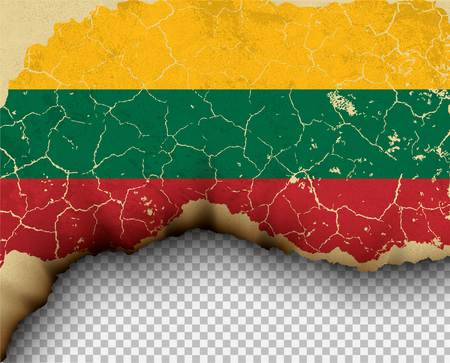 Element ripped Lithuania flag country templates torn paper burning. Ilustração