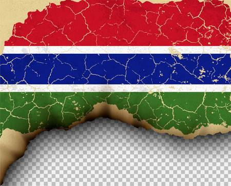 Element ripped Gambia flag country templates torn paper burning. Illustration