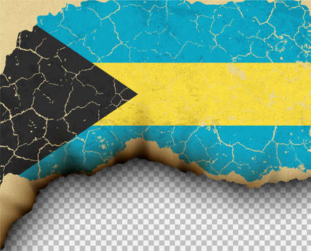 Element ripped Bahamas flag country templates torn paper burning. Illustration