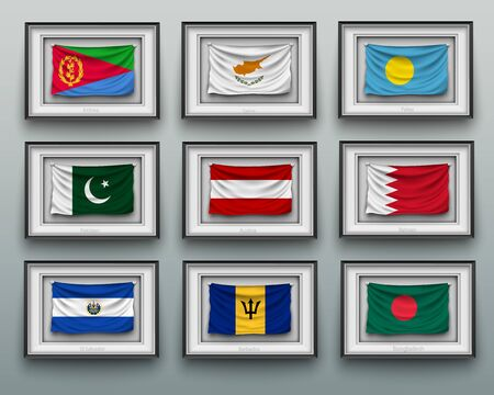 set waving flags in picture frame on the wall Illustration
