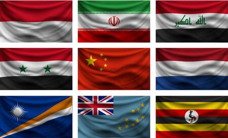 Set of waving country flags with shadows on white background.
