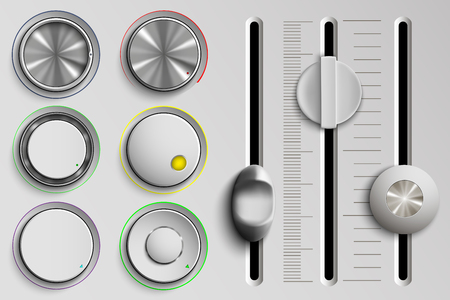 vector set of buttons and faders, volume control Illustration