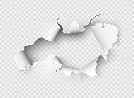 Ragged Hole in zerrissenem Papier auf transparentem Hintergrund zerrissen