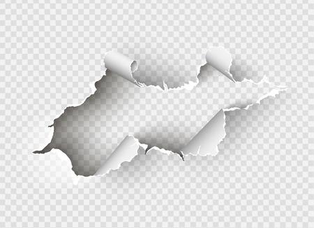 Buco contorto strappato in carta strappato su sfondo trasparente
