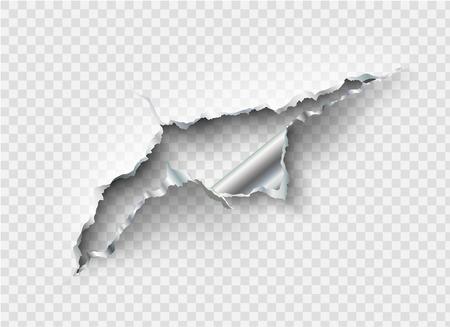 agujero irregular roto en metal rasgado en el fondo transparente Ilustración de vector