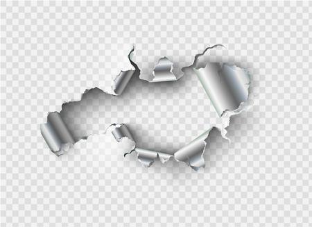 agujero irregular roto en metal rasgado en el fondo transparente