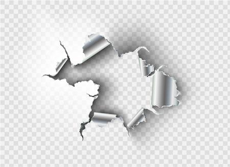 Buco intrecciato strappato in metallo strappato su sfondo trasparente